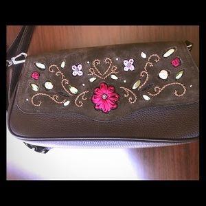 Brighton Brown Leather & Suede Crossbody Handbag